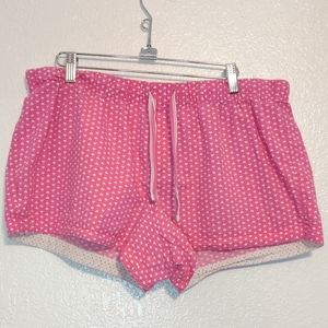 Xhilaration Sleepwear Shorts Pink/White Hearts XL